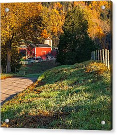 Autumn Road Morning Square Acrylic Print by Bill Wakeley