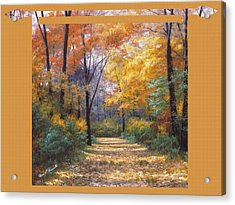 Autumn Road Tapestry Look Acrylic Print by Diane Romanello