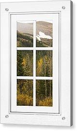 Autumn Rocky Mountain Glacier View Through A White Window Frame  Acrylic Print by James BO  Insogna