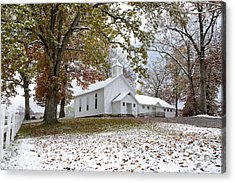 Autumn Snow And Country Church Acrylic Print