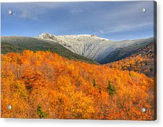 Autumn Snow On Mount Lafayette Acrylic Print