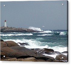 Autumn Storm At Peggy's Cove Acrylic Print by Janet Ashworth