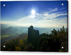 Autumn Sunrise In The Elbe Sandstone Mountains Acrylic Print