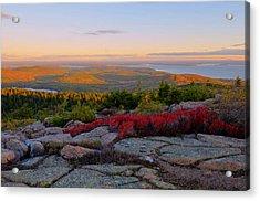Cadillac Mountain Autumn Sunrise Acrylic Print by Stephen  Vecchiotti