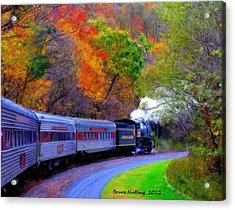 Acrylic Print featuring the painting Autumn Train by Bruce Nutting