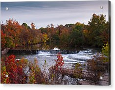 Acrylic Print featuring the photograph Refreshing Waterfalls Autumn Trees On The Stones River Tennessee by Jerry Cowart