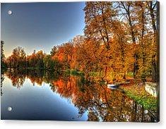 Autumn Trees Over A Pond In Arkadia Park In Poland Acrylic Print