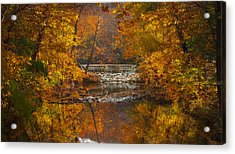 Autumn Waterfall Acrylic Print by Jen Morrison