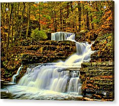 Autumn By The Waterfall Acrylic Print by Nick Zelinsky