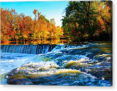 Amazing Autumn Flowing Waterfalls On The River  Acrylic Print