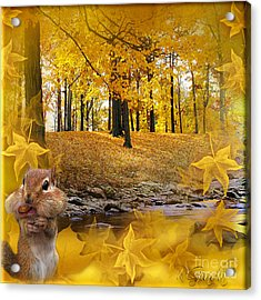 Acrylic Print featuring the digital art Autumn With A Squirrel - Autumn Art By Giada Rossi by Giada Rossi