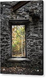 Autumn Within Cunningham Tower - Historical Ruins Acrylic Print by Gary Heller