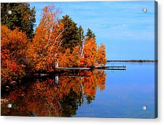 Autumnal Reflections Acrylic Print by Larry Trupp