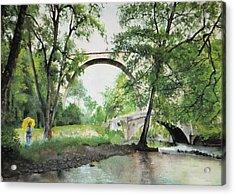 Aux Pieds Des Ponts De Pierre - Perthuis Acrylic Print