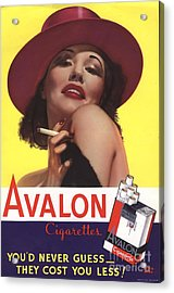 Avalon 1930s Usa Glamour Cigarettes Acrylic Print by The Advertising Archives