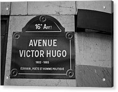 Avenue Victor Hugo Paris Road Sign Acrylic Print by Georgia Fowler