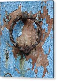 Avignon Door Knocker On Blue Acrylic Print by Ramona Johnston