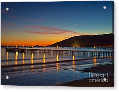 Avila Beach Sunset And Little Crescent Moon Acrylic Print