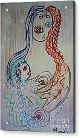 Acrylic Print featuring the painting Avi's Madonna by Avonelle Kelsey