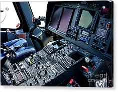 Aw139 Cockpit Acrylic Print by Olivier Le Queinec