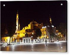 Aya Sophia In Istanbul Turkey At Night Acrylic Print by Raimond Klavins
