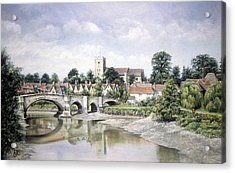 Acrylic Print featuring the painting Aylesford Bridge by Rosemary Colyer