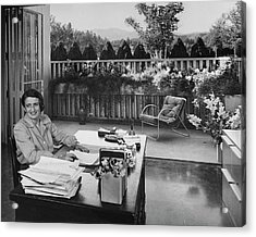 Ayn Rand At Her Desk Acrylic Print by Julius Shulman