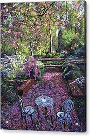 Azaleas And Cherry Blossoms Acrylic Print by David Lloyd Glover