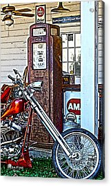 Aztec And The Gas Pump Acrylic Print by Lesa Fine