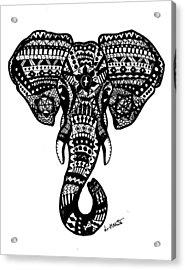 Aztec Elephant Head Acrylic Print