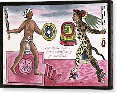 Aztec Sacrificial Fight Acrylic Print by Library Of Congress