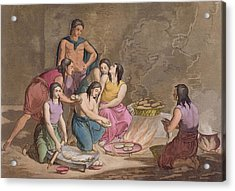 Aztec Women Making Maize Bread, Mexico Acrylic Print by Gallo Gallina