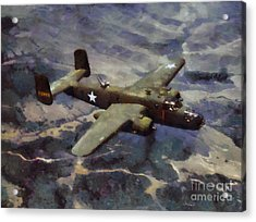 Acrylic Print featuring the painting B-25 Bomber by Kai Saarto