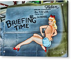 B-25 Bomber Pin Up Girl Acrylic Print by Lee Dos Santos