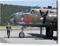 B-25 Bomber Pre-flight Check Acrylic Print by Daniel Hagerman