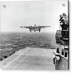 B-25 Bomber Taking Off During Wwii Acrylic Print