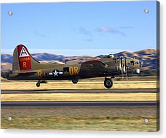 Acrylic Print featuring the photograph B17 Flying Fortress Departs Livermore Klvk by John King