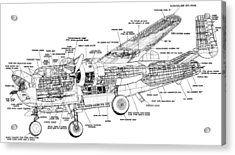 B25 Mitchell Schematic Diagram Acrylic Print