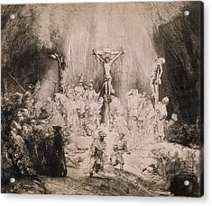 The Three Crosses, Circa 1660 Acrylic Print by Rembrandt Harmensz van Rijn