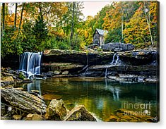 Babcock Falls As The Leaves Turn Acrylic Print by Mark East