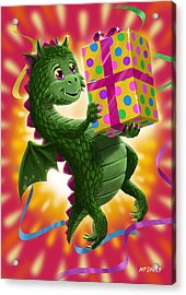 Baby Birthday Dragon With Present Acrylic Print