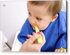 Baby Boy Being Spoonfed Acrylic Print