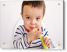 Baby Boy Playing With A Spoon Acrylic Print