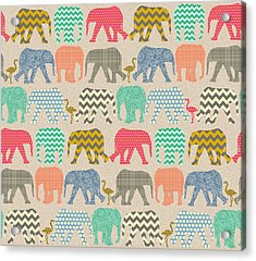 Baby Elephants And Flamingos Linen Acrylic Print by Sharon Turner