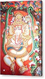 Baby Ganesha Swinging On A Snake Acrylic Print by Jayashree