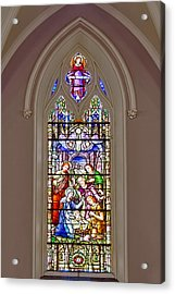 Baby Jesus Stained Glass Window Acrylic Print by Susan Candelario