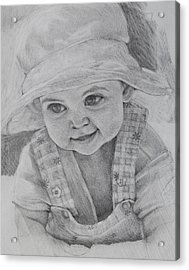 Acrylic Print featuring the drawing Baby Meg by Jani Freimann