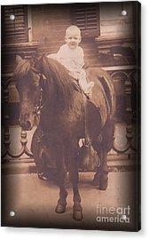 Baby On Pony Acrylic Print by Anne Rodkin
