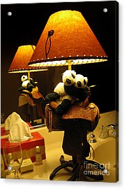 Baby Pandas In A Saddle  Acrylic Print by Ausra Huntington nee Paulauskaite