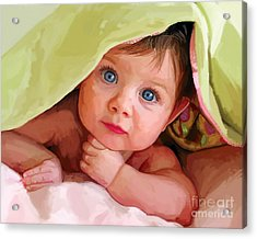 Acrylic Print featuring the painting Baby Under Blanket by Tim Gilliland
